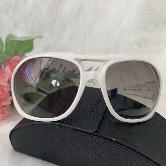 008c845689e7 Prada Accessories   Womens White Round Aviator Sunglasses   Poshmark